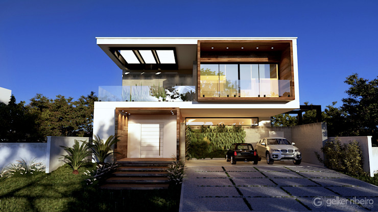 Casa moderna BM Gelker Ribeiro Arquitetura | Arquiteto Rio de Janeiro Condomínios Madeira Branco