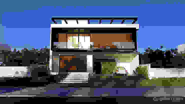 Casa moderna CB Gelker Ribeiro Arquitetura | Arquiteto Rio de Janeiro Condomínios Madeira Branco