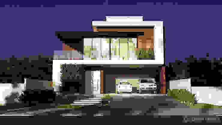 Casa moderna DC Gelker Ribeiro Arquitetura | Arquiteto Rio de Janeiro Condomínios Madeira Efeito de madeira