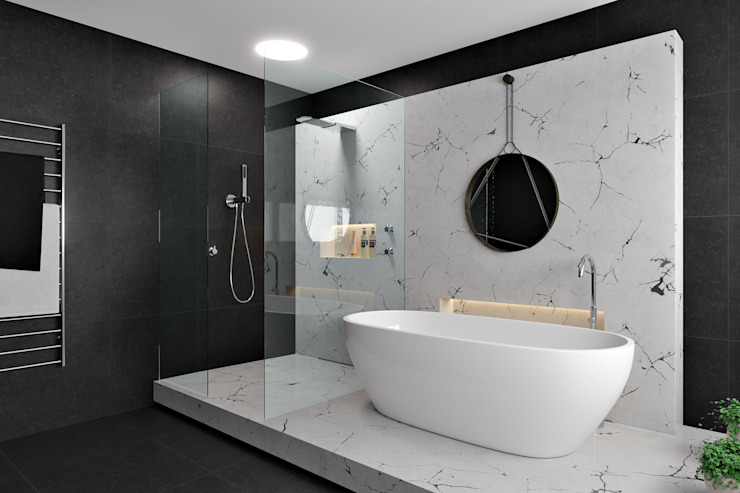Marble Bathroom Modern bathroom by Zero Point Visuals Modern Marble