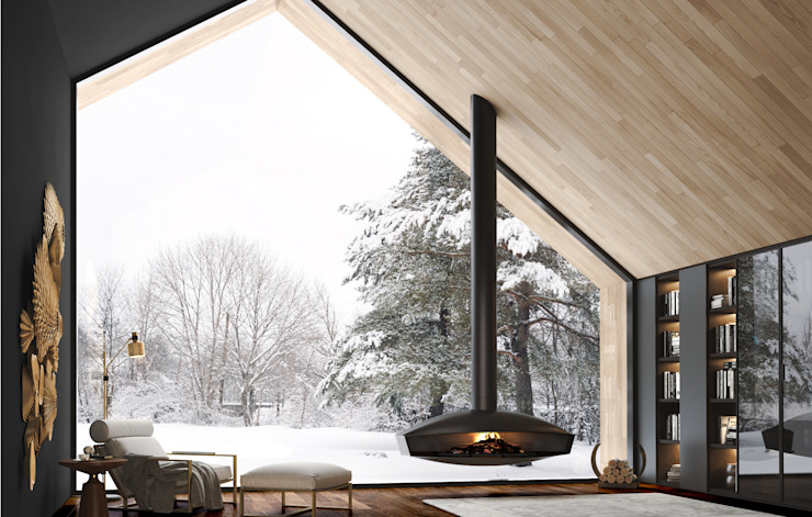 Kim - Flow Collection por Shelter ® Fireplace Design Moderno
