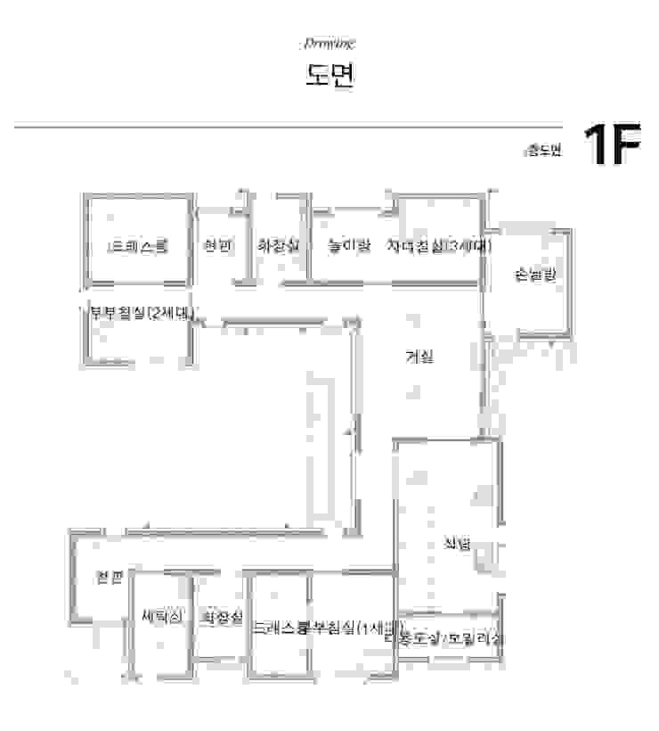 [경기도 연천] 삼대가 사는 특별함이 담긴 집.: 한글주택(주)의 현대 ,모던