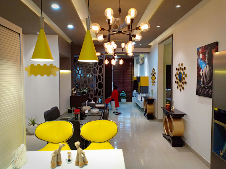 Apartment interiors Maayish Architects Dining roomAccessories & decoration White