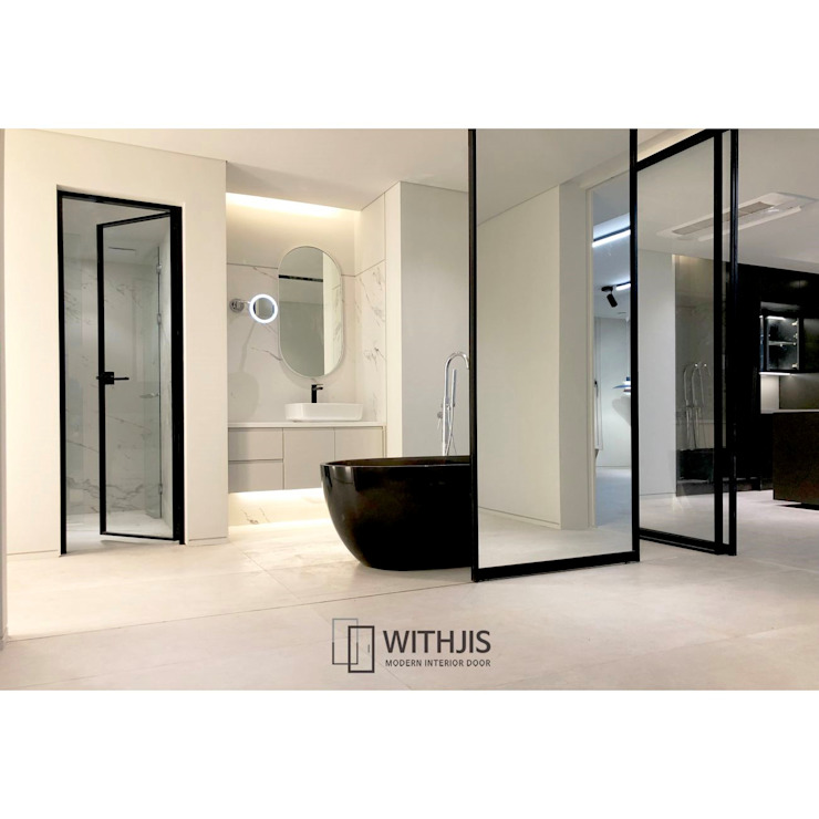 WITHJIS(위드지스) Modern style bathrooms Aluminium/Zinc Black