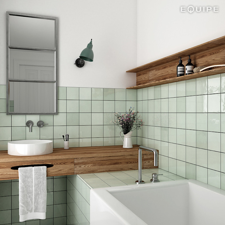 Equipe Ceramicas Mediterranean style bathrooms Tiles Green