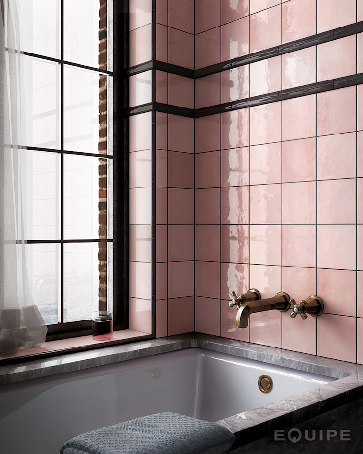 Equipe Ceramicas Mediterranean style bathrooms Tiles Pink