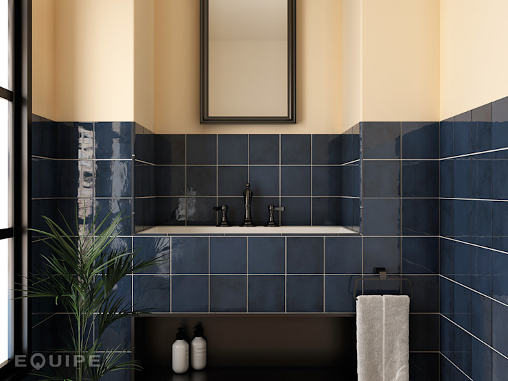 Equipe Ceramicas Mediterranean style bathrooms Tiles Blue