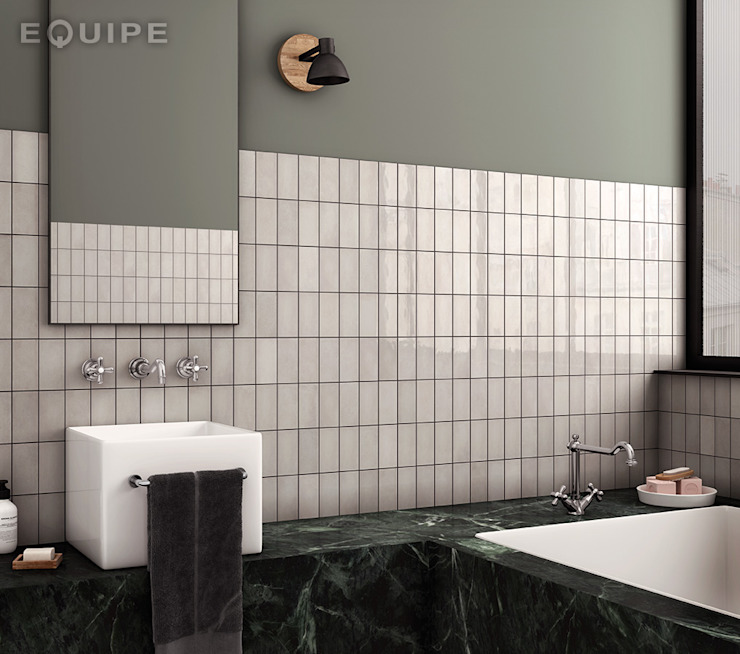 Equipe Ceramicas Mediterranean style bathrooms Tiles Grey
