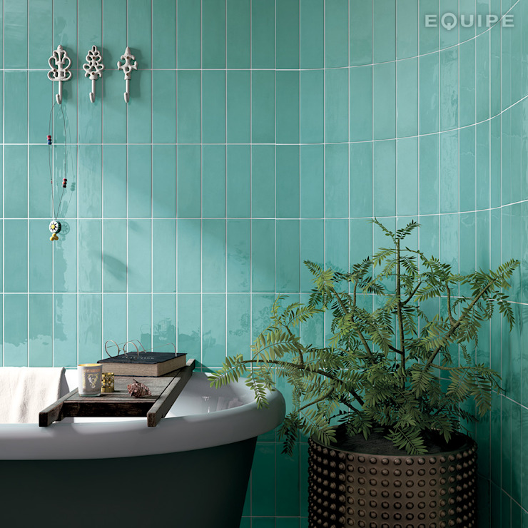 Equipe Ceramicas Mediterranean style bathrooms Tiles Turquoise