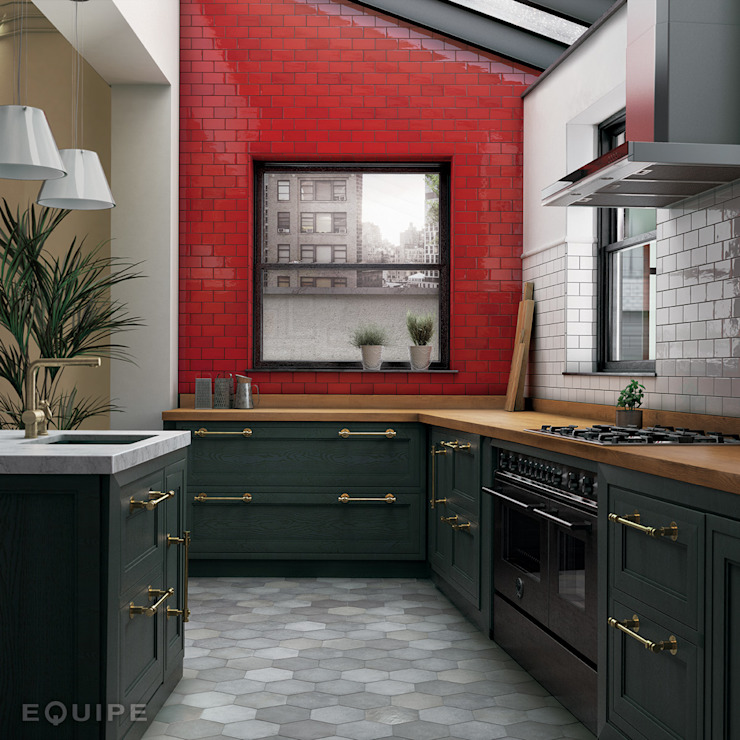 Equipe Ceramicas Kitchen Tiles Red