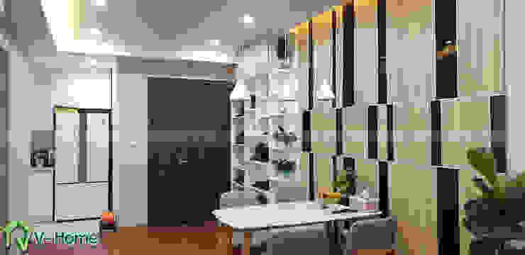 Phòng khách căn hộ chung cư: hiện đại  by Công ty CP tư vấn thiết kế và xây dựng V-Home, Hiện đại