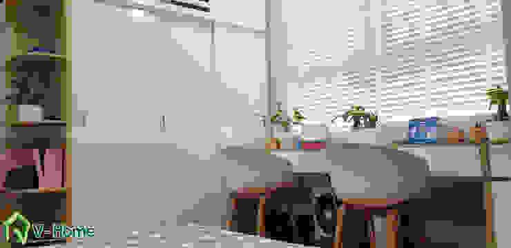 Khu vực bàn học: hiện đại  by Công ty CP tư vấn thiết kế và xây dựng V-Home, Hiện đại