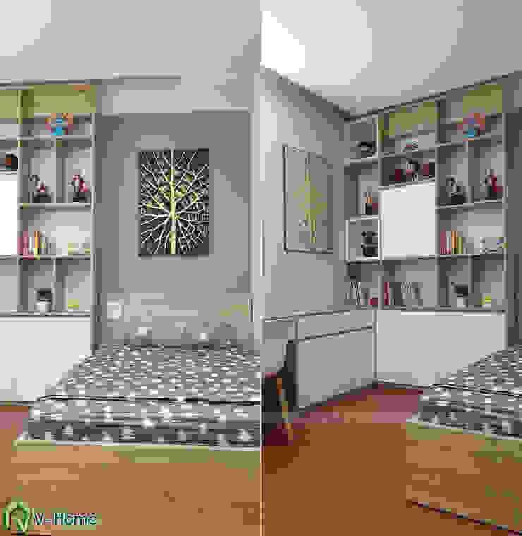 Giường ngủ và hệ tủ trang trí: hiện đại  by Công ty CP tư vấn thiết kế và xây dựng V-Home, Hiện đại