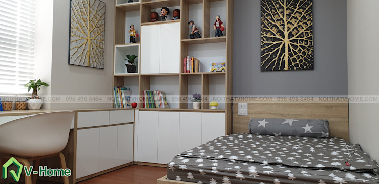 Phòng ngủ cho trẻ: hiện đại  by Công ty CP tư vấn thiết kế và xây dựng V-Home, Hiện đại