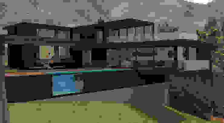 Vista área social. Jardín/piscina/sala/comedor de MESIA ARQUITECTOS Moderno