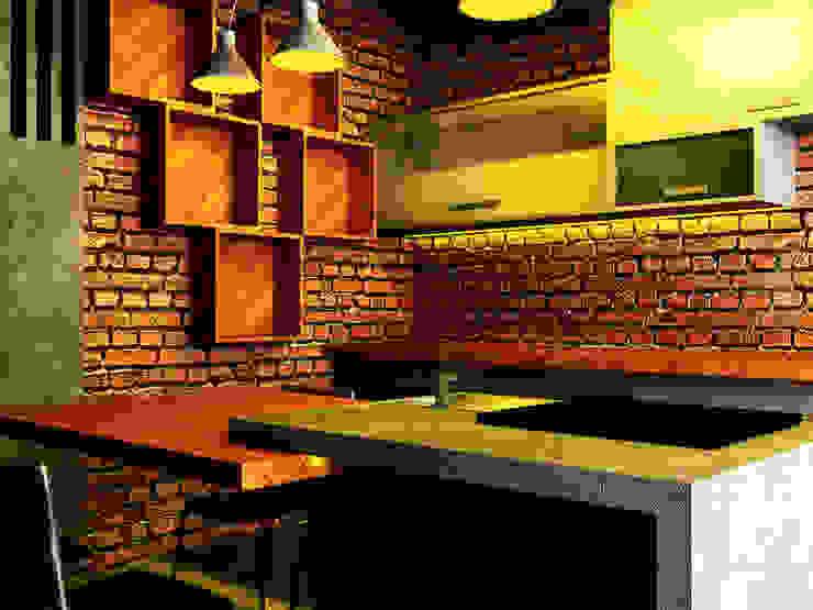 Interior Dapur dan Ruang Makan r.studio Dapur kecil Batu Bata Red