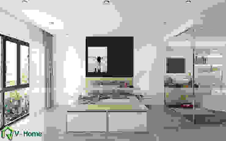 Thiết kế nội thất phòng nghỉ khách sạn thông minh: hiện đại  by Công ty CP tư vấn thiết kế và xây dựng V-Home, Hiện đại