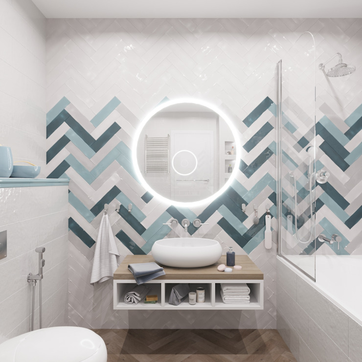 DIZ62 Scandinavian style bathroom Tiles White