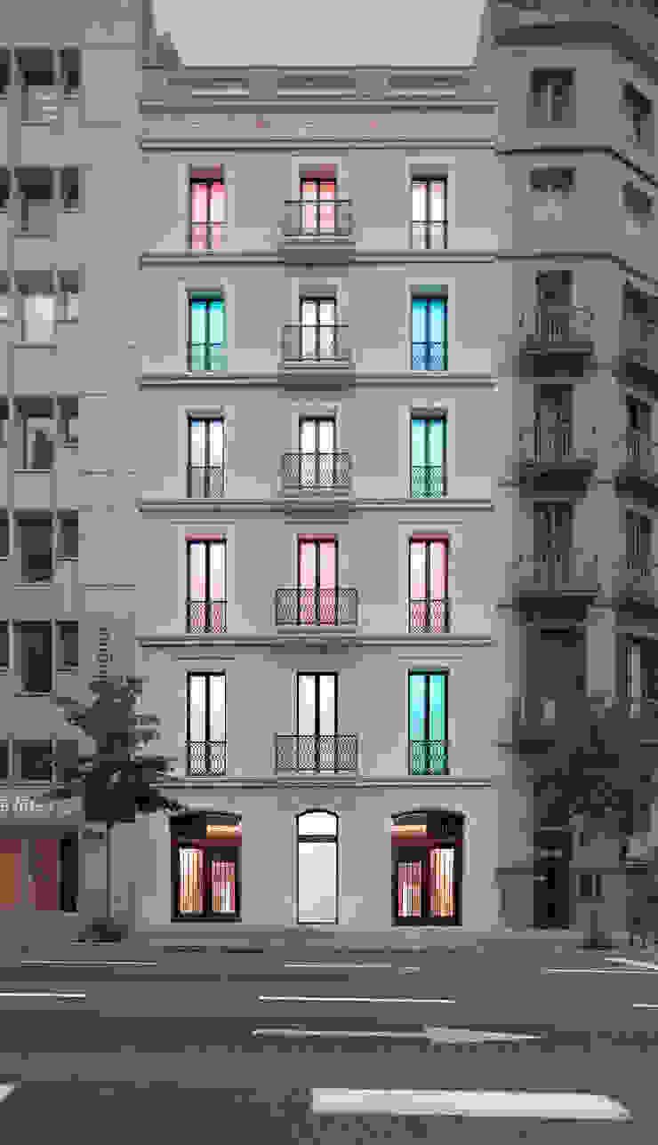 Fachada iluminada con leds Oficinas y tiendas de estilo moderno de Xmas Arquitectura e Interiorismo para reformas y nueva construcción en Barcelona Moderno