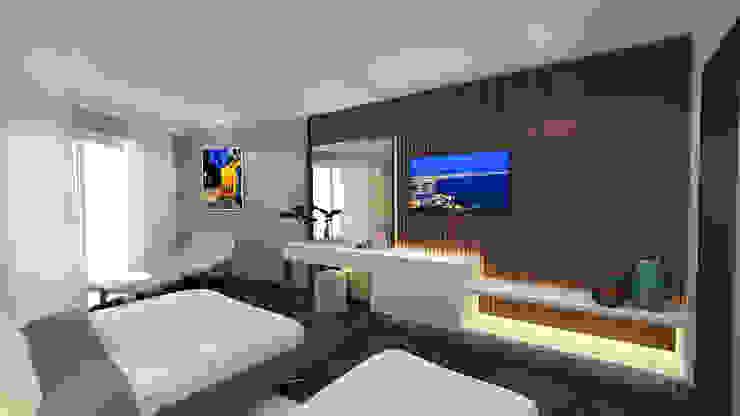 t1 otel projesi Kreatif çizgi Minimalist Yatak Odası