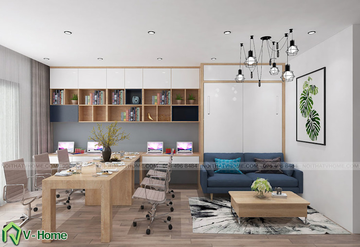 Thiết kế nội thất căn hộ Officetel D'Capital: hiện đại  by Công ty CP tư vấn thiết kế và xây dựng V-Home, Hiện đại