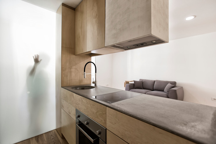 Sant'erasmo's flat ManGa architects Petites cuisines Bois Beige