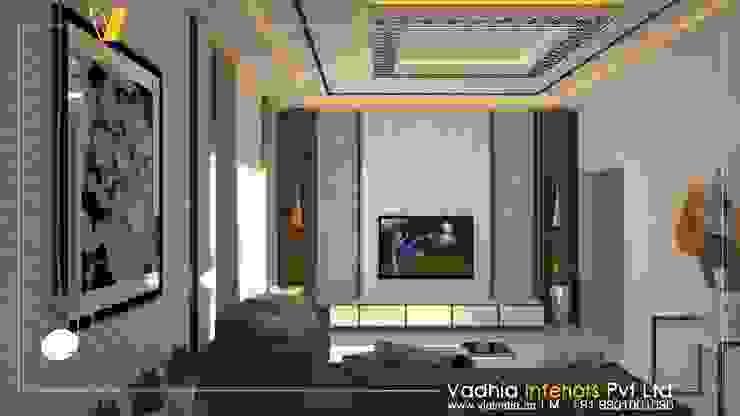 3 BHK Interiors Living room interior:  Living room by Vadhia Interiors Pvt Ltd