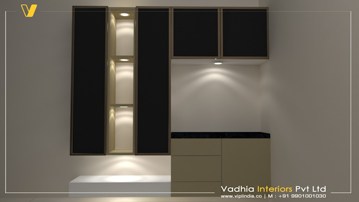 3 BHK Interiors Living room interiors:  Dining room by Vadhia Interiors Pvt Ltd