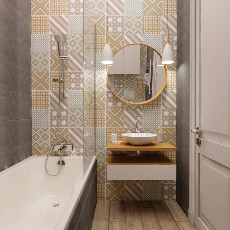 Проект квартиры в стиле современной классики Ванная комната в скандинавском стиле от Анна Крапивко Скандинавский