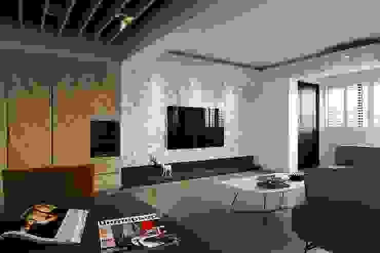 百玥空間設計 ─ 本質 现代客厅設計點子、靈感 & 圖片 根據 百玥空間設計 現代風 磁磚