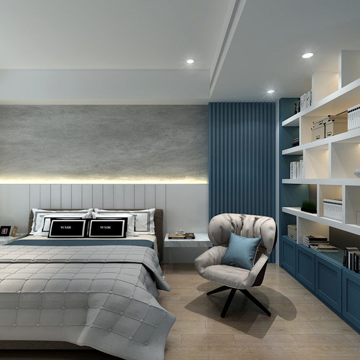 百玥空間設計 Modern style bedroom Wood White