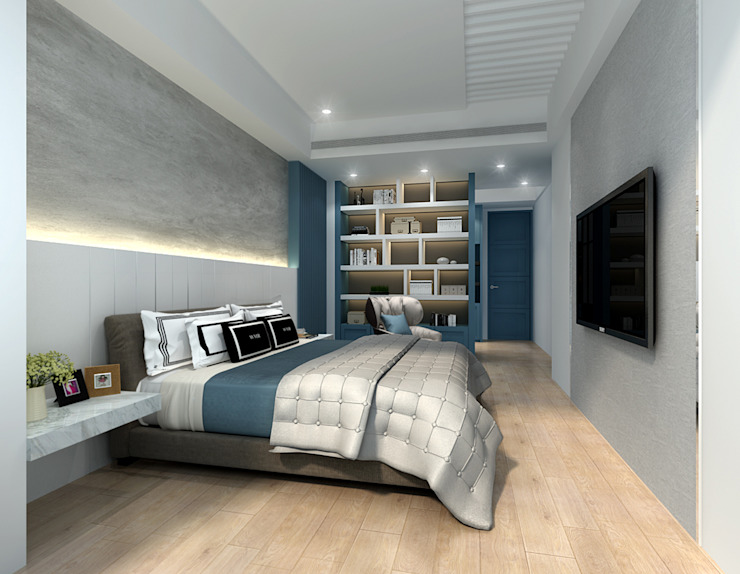 百玥空間設計 Modern style bedroom Plywood Blue