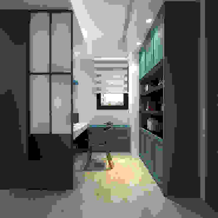 百玥空間設計 Modern Study Room and Home Office Plywood Blue