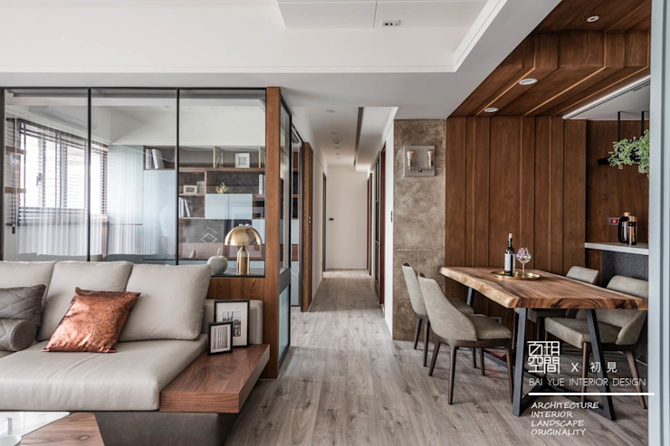 百玥空間設計 ─ 初見 百玥空間設計 現代風玄關、走廊與階梯 強化水泥 Grey