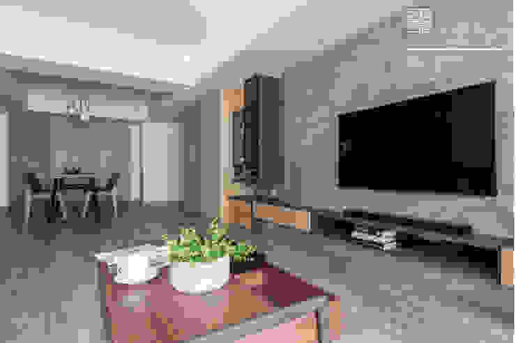 百玥空間設計 ─ 36℃ 灰 现代客厅設計點子、靈感 & 圖片 根據 百玥空間設計 現代風 強化水泥