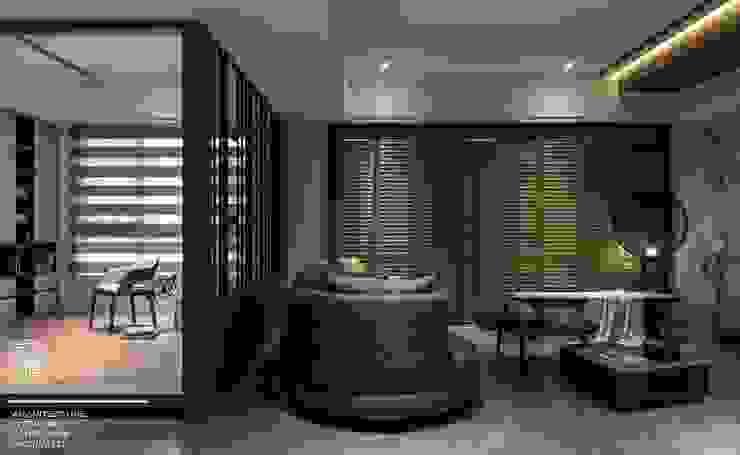 百玥空間設計 ─ 拾光 现代客厅設計點子、靈感 & 圖片 根據 百玥空間設計 現代風 實木 Multicolored