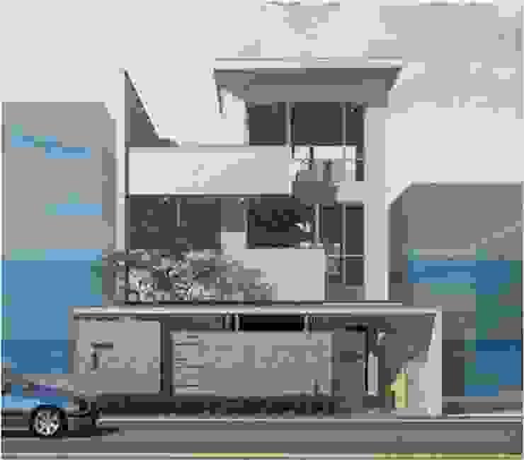 灰色低調門面搭配白屋住宅 樸木聯合建築師事務所 房子