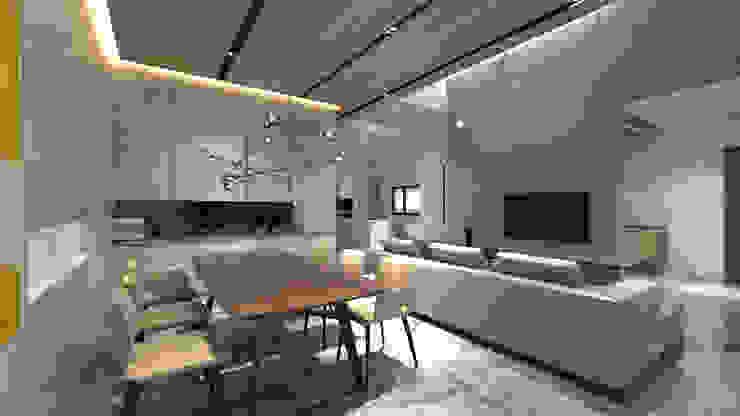 挑高客餐廳空間 樸木聯合建築師事務所 客廳
