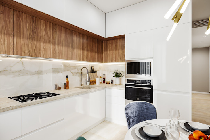 Квартира 60 кв.м. в современном стиле в ЖК Савёловский Сити. Гостиная в стиле минимализм от Студия архитектуры и дизайна Дарьи Ельниковой Минимализм