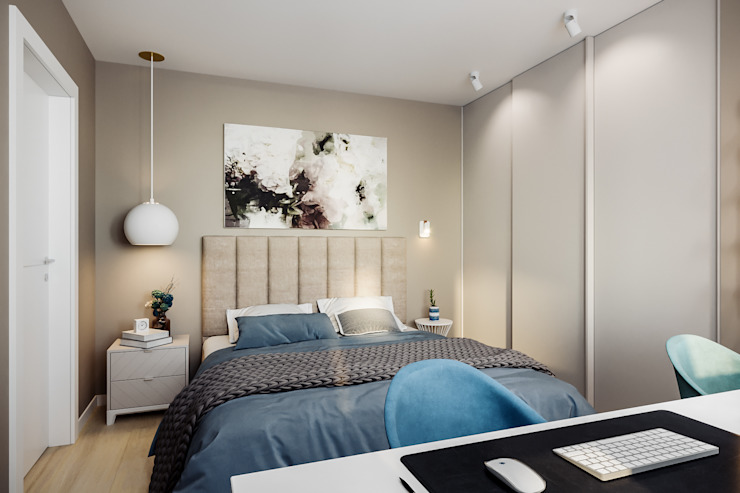 Camera da letto in stile  di Студия архитектуры и дизайна Дарьи Ельниковой, Minimalista