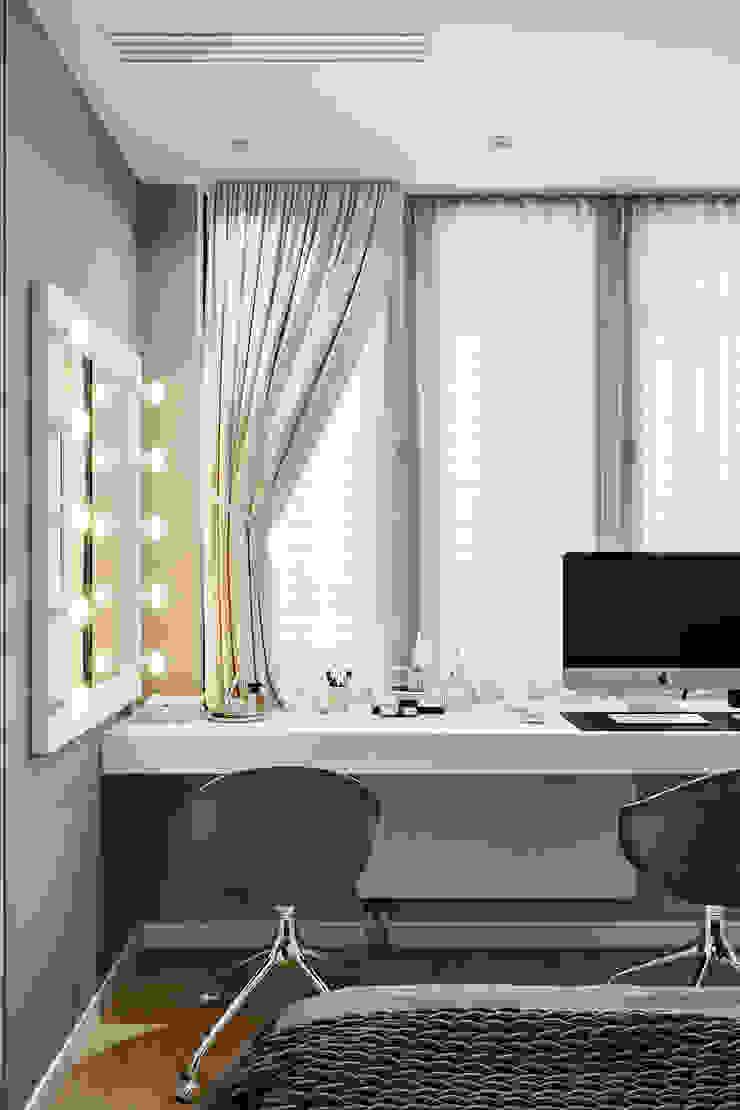 Квартира 60 кв.м. в современном стиле в ЖК Савёловский Сити. Спальня в стиле минимализм от Студия архитектуры и дизайна Дарьи Ельниковой Минимализм