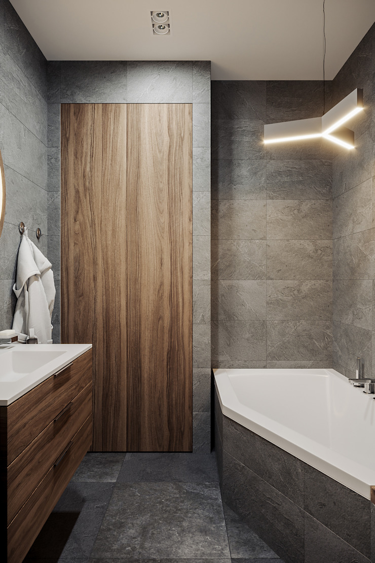 Квартира 60 кв.м. в современном стиле в ЖК Савёловский Сити. Ванная комната в стиле минимализм от Студия архитектуры и дизайна Дарьи Ельниковой Минимализм