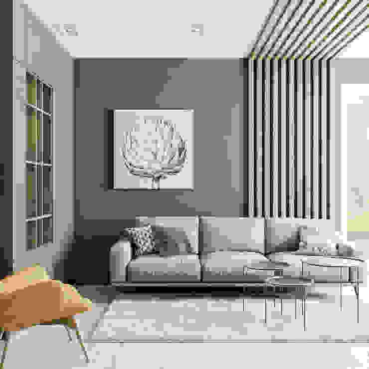 Projekt mieszkania w Krakowie LINEUP STUDIO Minimalistyczny salon Zielony