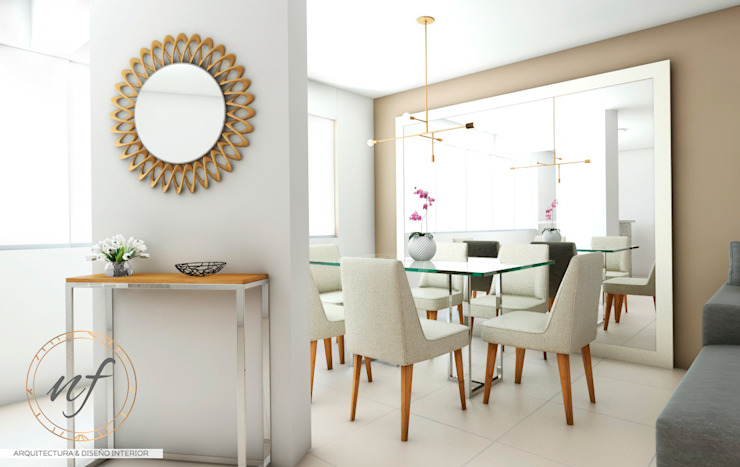PROYECTO RESIDENCIAL ANIA - COMEDOR Comedores de estilo moderno de NF Diseño de Interiores Moderno