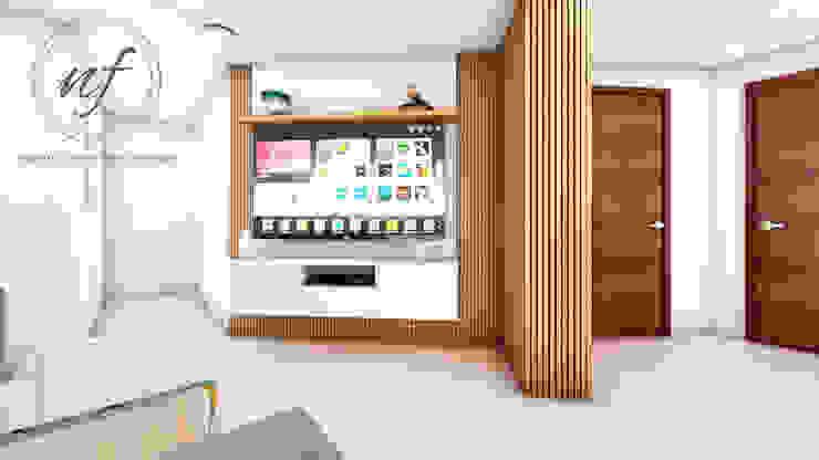 PROYECTO RESIDENCIAL ANIA - MUEBLE TV Salas modernas de NF Diseño de Interiores Moderno
