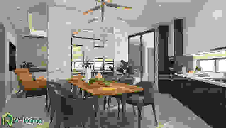 Thiết kế nội thất nhà lô phố hiện đại Đan Phượng - Hà Nội: hiện đại  by Công ty CP tư vấn thiết kế và xây dựng V-Home, Hiện đại