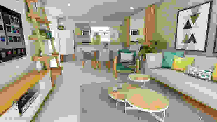 PROYECTO MULTIFAMILIAR Salas modernas de NF Diseño de Interiores Moderno