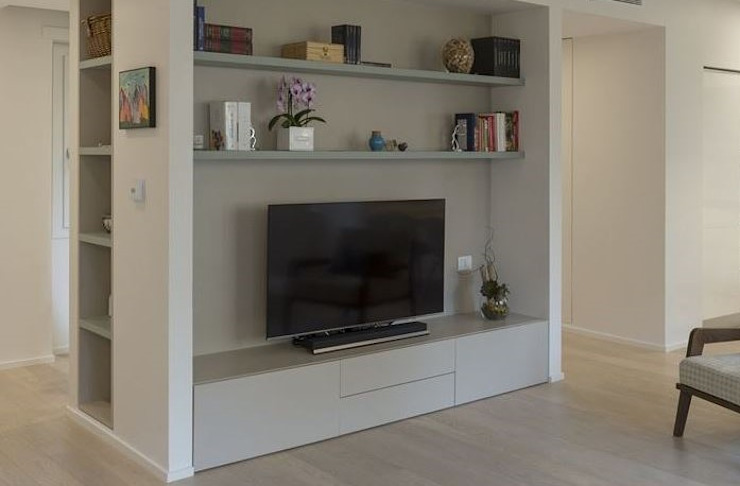 tv unit in living room Modern living room by decormyplace Modern Plywood