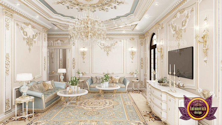 Grand Elegant Living Room Design by Luxury Antonovich Design