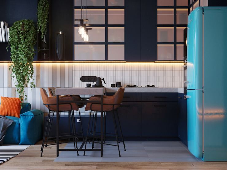 Suiten7 Industrial style kitchen Blue